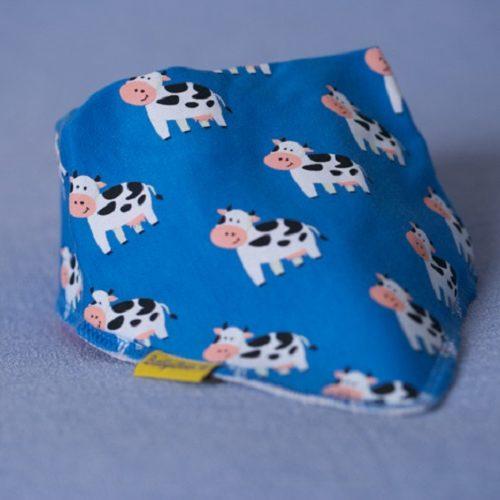 Blue cow dribbleboo bandana bib