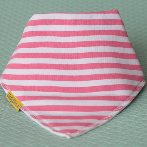 Candy pink stripes organic cotton DribbleBoo bandana bib