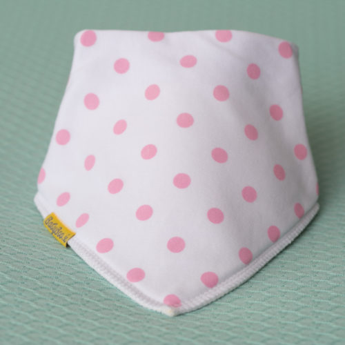 White with pink polka organic cotton DribbleBoo bandana bib