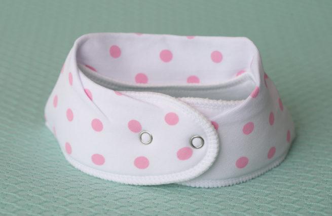 White with pink polka organic cotton DribbleBoo bandana bib