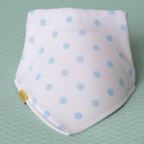 Blue Polka organic cotton DribbleBoo bandana bib