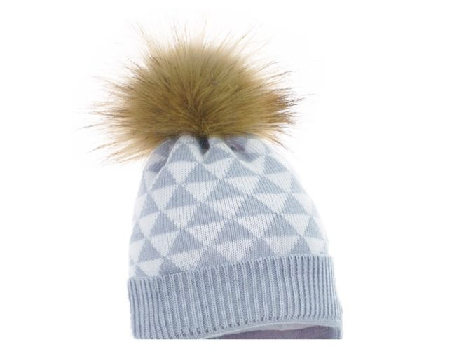 Geometric print pom hat