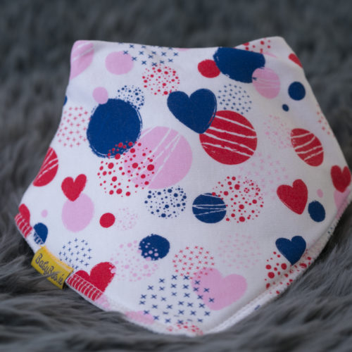 Abstract hearts bandana bib